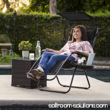 BCP Folding Zero Gravity Lounge Chair W/ Canopy & Magazine Cup Holder