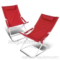 Magshion 4 Position Pair Folding Beach Camping Patio Outdoor Travel Recliners Chair Set of 2 Red