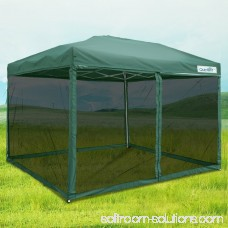 Quictent 10x10 Ez Pop up Canopy with Netting Screen House Instant Gazebo Party Tent Mesh Sides Walls With Carry BAG Green