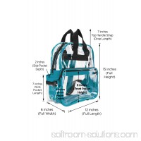 DALIX Small Clear Backpack Transparent PVC Security Security School Bag in Teal