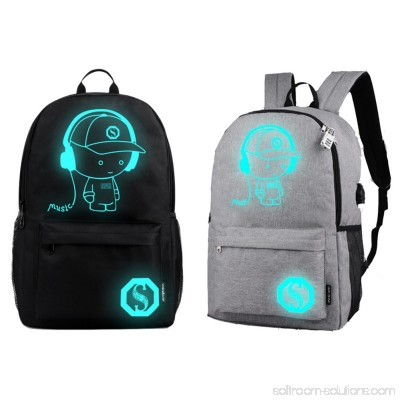 ENJOY Non-USB Charge Cool Boys School Backpack Luminous School Bag Music Boy Backpacks Gray