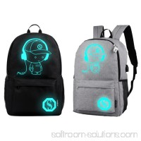 ENJOY USB Charge Cool Boys School Backpack Luminous School Bag Music Boy Backpacks Black