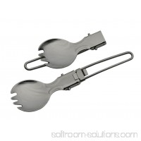 Survival Spork 6 Overall Compact Silver Military Folding Camping Hiking Utensil