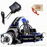 LED Headlamp Flashligh, Headlamps For Camping, 12W XML T6 LED 2000Lm Zoomable Headlamp Flashlight Spotlight 2 Chargers + 2 Battary