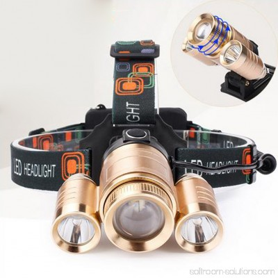 Superbright 3 LED Head Lamp Waterproof Adjustable Headlamp for Fishing Camping Hunting Kit Type:Gold 30W 565544836