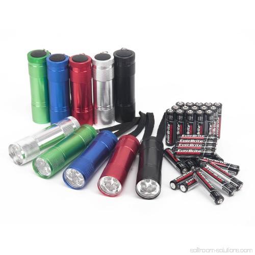 Ozark Trail LED Aluminum Flashlight 10 Pack With 30 AAA Batteries