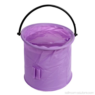 Unique Bargains 7.3 x 6.3 Cylinder Shape Portable Folding Water Bucket Camping Outdoor Fishing Purple