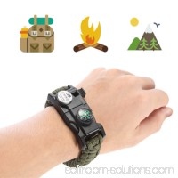 LED Light Outdoor Survival Camo Paracord Bracelet Flint Fire Starter Compass NEW (Mountain Camo)