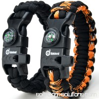 ODOLAND Paracord Bracelet Emergency Survival Cord 2-Peak Series Gear Kit w/ Compass Fire Starter Knife Whistle   567213561