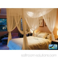 Four Corner Post Elegant Mosquito Net Bed Canopy Set, Beige, Full/Queen/King   570553490