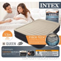 "Intex Premium Dura-Beam Comfort 13"" Airbed w/ Built-In Air Pump, Queen 