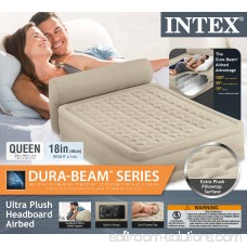 Intex Queen Ultra Plush Elevated DuraBeam Airbed with Built-In Pump & Headboard