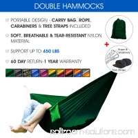 Yes4All Ultralight Portable Parachute Nylon Double Hammock With Tree Straps - Carry Bag Included   564819683